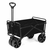 Seina Collapsible Steel Frame Folding Utility Beach Wagon Outdoor Cart, Black