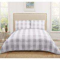 Truly Soft Everyday Buffalo Plaid Grey Twin XL Quilt Set