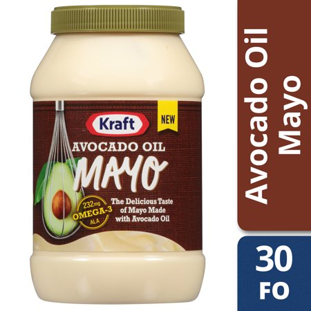 (2 Pack) Kraft Avocado Oil Reduced fat Mayonnaise, 30 fl oz Jar