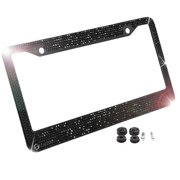 756f49c2060 Zone Tech Shiny Bling License Plate Cover Frame - Classic Black Crystal  Bling Novelty License