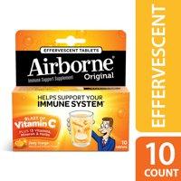Airborne Vitamin C Tablets, Zesty Orange, 1000mg - 10 Effervescent Tablets