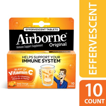 Airborne Vitamin C Tablets, Zesty Orange, 1000mg - 10 Effervescent (Airborne Filtration System)