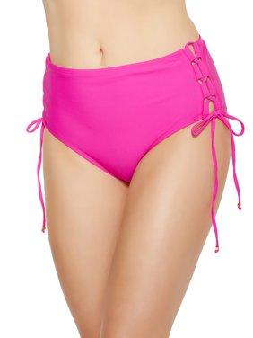 Women's High-Waisted Solid Bikini Brief Swim Bottom w/Lace-Up Detail