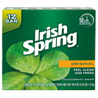 Irish Spring Original, Deodorant Bar Soap, 3.7 Ounce, 12 Bar Pack