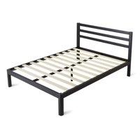 intelliBASE Full Size Wooden Slat Black Metal Platform Bed Frame with Headboard