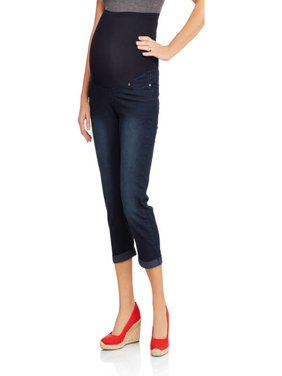 Maternity Roll Cuff Overbelly Denim Capris - Available in Plus Sizes