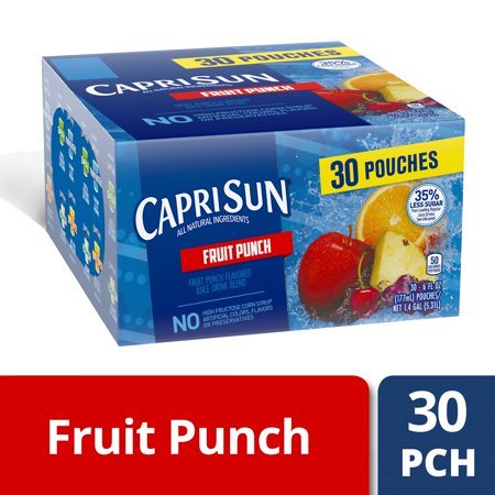 - Capri Sun 35% Less Sugar Fruit Punch Flavored Juice Drink Blend, 30-6 fl oz Pouches