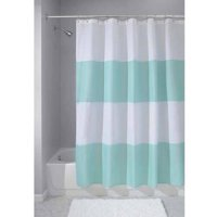 "InterDesign Zeno Fabric Shower Curtain, Standard 72"" x 72"", Blue/White"