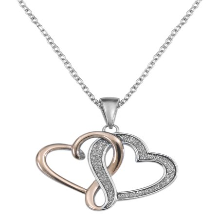 Stainless Steel Interlocking Hearts Pendant, 18](Fireflies Necklace)