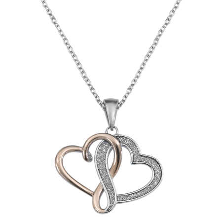 Stainless Steel Interlocking Hearts Pendant, 18
