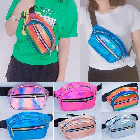 New Waterproof Laser Fanny Pack Hip Waist Pack Belt Pouch Women Unisex Laser Waist Bag laser