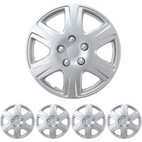 """BDK Hubcaps 15"""" 4 Pieces, Silver, Toyota Corolla Style Replacement"""