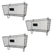 Ktaxon 3pcs Wire Letter Mail Mount Metal Rack Basket Vintage Triple Organizer Black