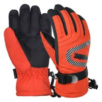 Vbiger Kids Winter Warm Gloves Waterproof Snow Ski Gloves Kids Sports Gloves for Sledding Cycling Snowboarding and More, Orange, M
