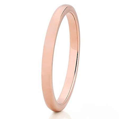 Silly Kings Rose Gold Tungsten Wedding Band 2mm Wedding Band Men & Women 18k Rose Gold Tungsten Ring Engagement Tungsten Ring Comfort Fit 18k Gold Ladys Wedding Band