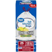 (Pack of 2) Great Value Strong Flex Tall Kitchen Drawstring Trash Bags, Citrus Burst, 13 Gallon, 25 Count