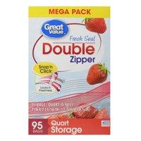(2 pack) Great Value Fresh Seal Double Zipper Bags, Mega Pack, Quart, 95 Count