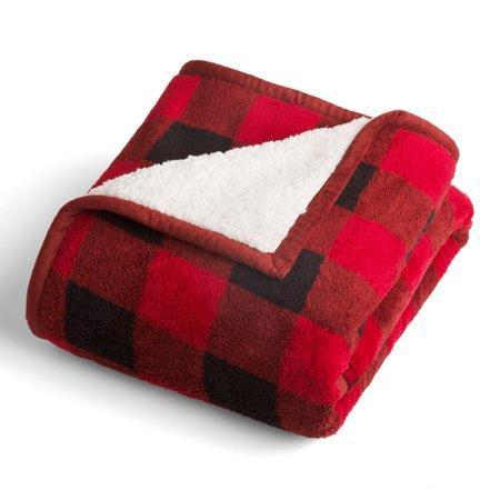 Better Homes & Gardens Printed Sherpa to Sherpa Red Buffalo Plaid Throw Blanket, 1 Each Acrylic Buffalo Bills Blanket