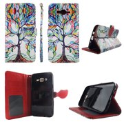 Lovely Tree Wallet Folio Case for Samsung Galaxy J7 2016 Fashion Flip PU Leather Cover Card