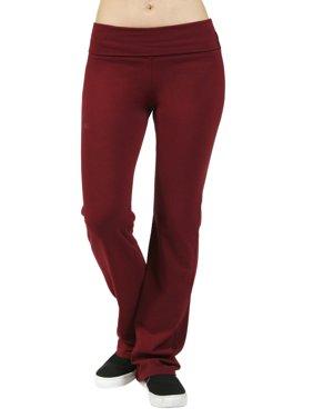 Women Foldover Yoga Athletic Flare Bottom Sweat Pants