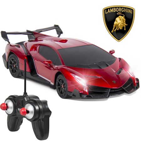Diecast Car Radio Remote Control (Best Choice Products 1/24 Officially Licensed RC Lamborghini Veneno Sport Racing Car w/ 27MHz Remote Control, Head and Taillights, Shock Suspension, Fine Tune Adjustment - Red )