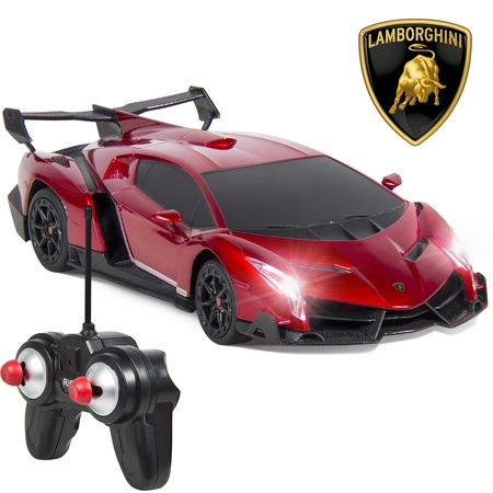 Best Choice Products 1/24 Officially Licensed RC Lamborghini Veneno Sport Racing Car w/ 27MHz Remote Control, Head and Taillights, Shock Suspension, Fine Tune Adjustment - (Best Remote Control Toy For 4 Year Old)