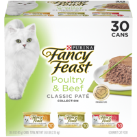 Fancy Feast Grain Free Pate Wet Cat Food Variety Pack; Poultry & Beef Collection - (30) 3 oz. Cans