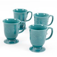 Cowgirl Lace Mug Set, Set of 4 (Teal), 4pk 13.9 oz Mugs By The Pioneer Woman