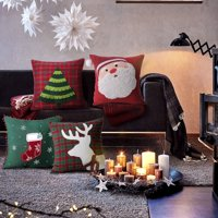 """Set of 4  PHANTOSCOPE Decorative New Merry Christmas Series Velvet Style Red and Green Throw Pillow Cushion Cover 18"""" x 18"""" 45 x 45 cm(Pillow Covers Only)"""