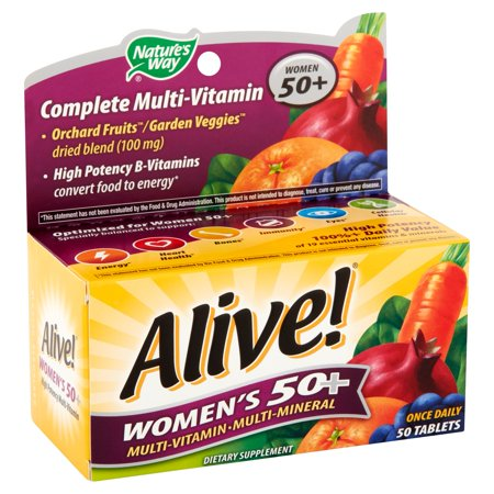 (2 pack) Nature's Way Alive! Women's 50+ Vitamins, Multivitamin Supplement Tablets, 50
