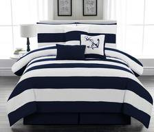 Legacy Decor 5pc. Microfiber Nautical Themed Comforter set, Navy Blue and White Striped, Twin Size