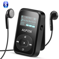 AGPTEK A26 8GB Bluetooth 4.0 MP3 Player,FM Radio Music Player with Sports Clip Hi-Fi Sound(up to 64GB),Black