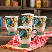 The Pioneer Woman Rose Shadow 18-Ounce Latte Mug Set, Set of 4