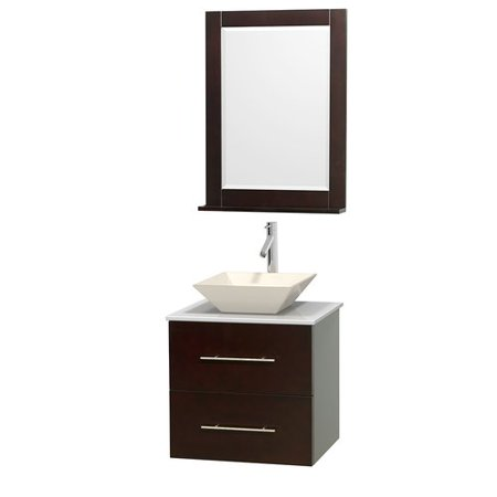 "Wyndham Collection Centra 24"" Single Bathroom Vanity, Espresso, White Man-Made Stone Countertop, Pyra Bone Porcelain Sink and 24"" Mirror"