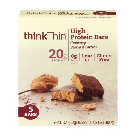 thinkThin High Protein Bar, Creamy Peanut Butter, 20g Protein, 5 (Best 30 Gram Protein Bars)