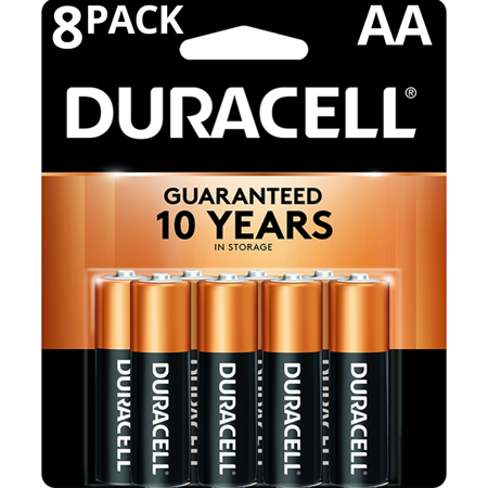 Duracell 1.5V Coppertop Alkaline AA Batteries 8 Pack 1.5v Dc Silver Battery