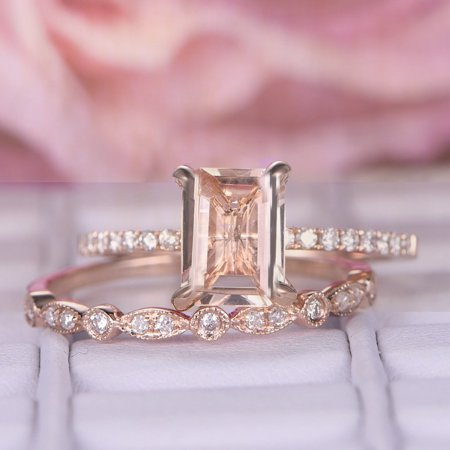 Perfect Bridal Set 1.50 carat emerald Cut Morganite and Diamond Bridal Set in Rose Gold: Bestselling Design Under Dollar