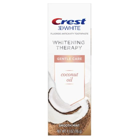 Crest 3D White Whitening Therapy Gentle Care Coconut Oil Fluoride Toothpaste, Smooth Mint, 4.1 ounce