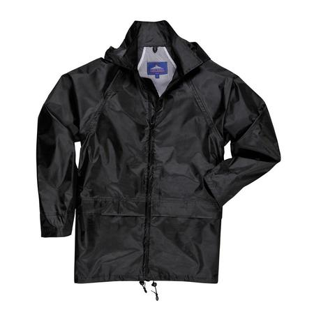 Portwest Black Classic Rain Coat with Attached - Mens Classic Lab Coat