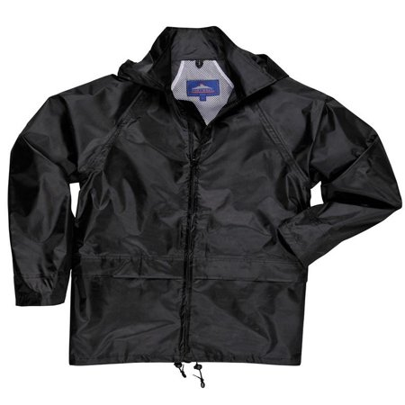 Air Raincoat Jacket (Portwest Black Classic Rain Coat with Attached Hood)