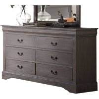 Acme Furniture Louis Philippe III Antique Gray Dresser with Six Drawers