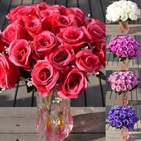 Girl12Queen 1 Large Bouquet 24 Heads Fake Rose Artificial Flower Wedding Party Home Decor