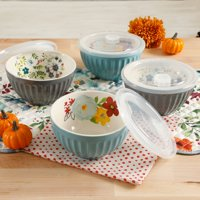 The Pioneer Woman Flea Market 5.76-Inch Latte Bowls with Lids, Set of 4