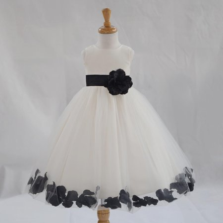 Ekidsbridal Formal Poly Satin Rose Petals Tulle Ivory Flower Girl Dress Bridesmaid Wedding Pageant Toddler Recital Easter Communion Graduation Reception Ceremony Birthday Baptism Occasions 302T - Flower Girl Dress Black And White