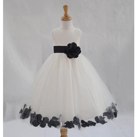 Ekidsbridal Formal Poly Satin Rose Petals Tulle Ivory Flower Girl Dress Bridesmaid Wedding Pageant Toddler Recital Easter Communion Graduation Reception Ceremony Birthday Baptism Occasions 302T - Black And White Dresses Girls