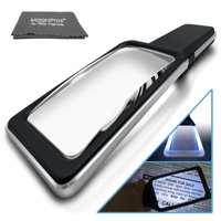 Large Magnifying Glass Handheld Reading Magnifier 3X Magnification with 10 Dimmable LEDs [Provides Evenly Lit Viewing Area] Ideal for Reading Small Prints, Book, Low Vision, Read Easily at Night