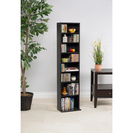 "Atlantic 54"" Summit Wood Media Storage Shelf (261 CDs, 114 DVDs, 132 BluRays/Games), Espresso or Maple"