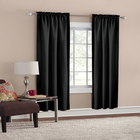 Mainstays Room Darkening Solid Woven Curtain Panel Pair