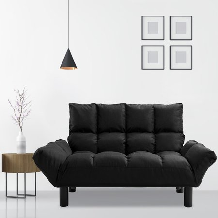 Metal Modern Loveseat - Harper&Bright Designs Adjustable Backrest Loveseat, Black