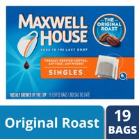 Maxwell House Singles Original Roast Instant Coffee Bags, 19 count Box